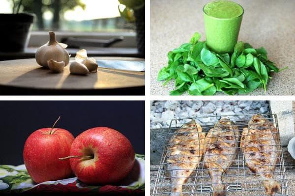 чесън,спанак,ябълки,риба