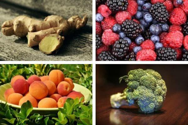 джинджифил,горски плодове,кайсии,броколи