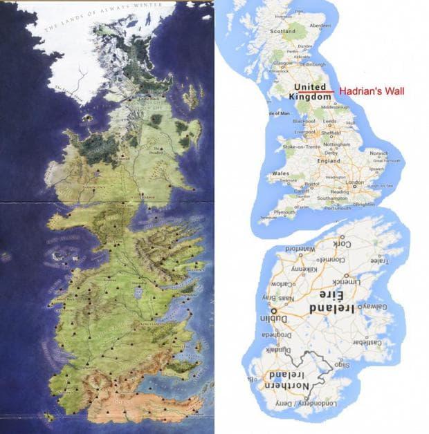 карта на Вестерос