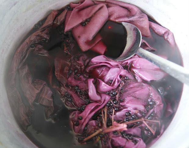 Боядисване на текстил с плодове черен бъз