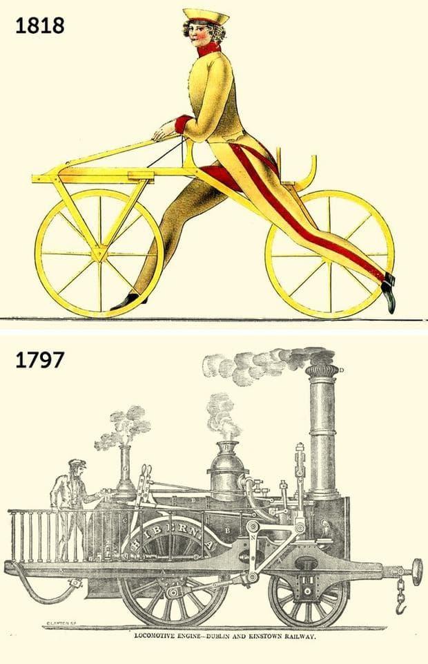 Първото колело и парният локомотив