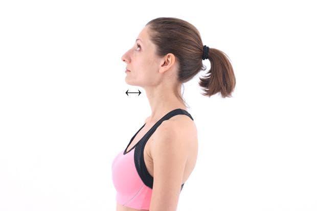 Упражнение за шията с прибиране на брадичката
