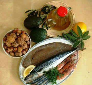 ядки, явокадо,зехтин, лимон, риба и морски дарове