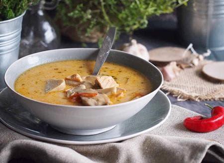 супа с гъби и сьомга
