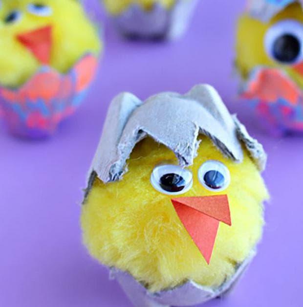 Излюпващи се пиленца от картон за яйца