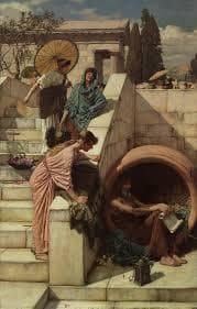 Диоген, стоящ в делвата си