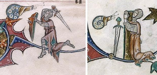 Рицар, атакуващ застанал на клонка охлюв, очиевидно воинът губи схватката