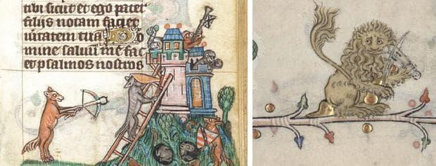 Антропоморфни животни от средновековни рисунки