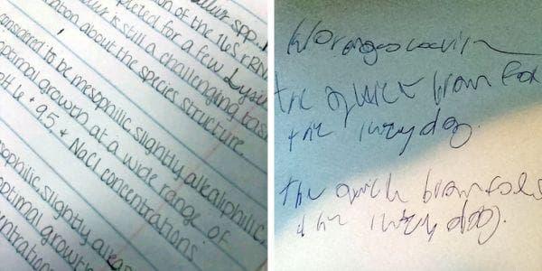 Почерк при човек с дисграфия