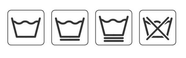Символи за памучни и синтетични дрехи.
