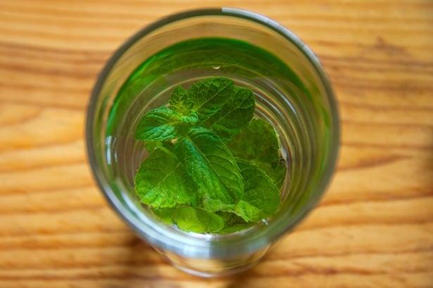 Листа от мента в чаша вода