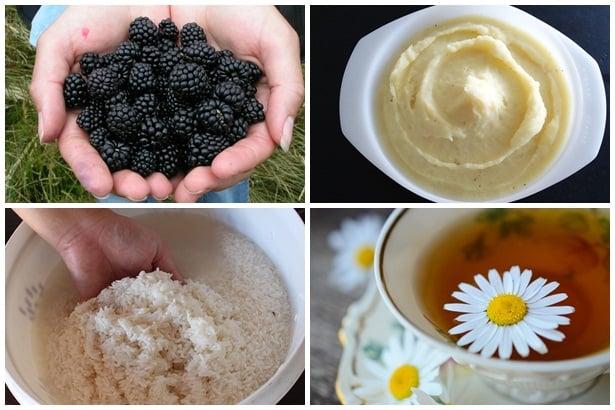 къпини, картофено пюре, оризова вода,  чай лайка