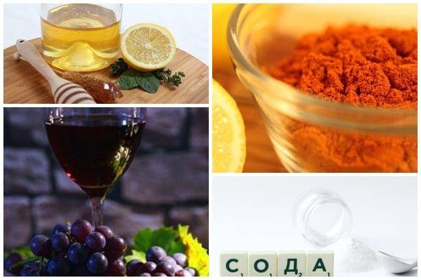 лимон и мед, лют пипер, сок от грозде, сода