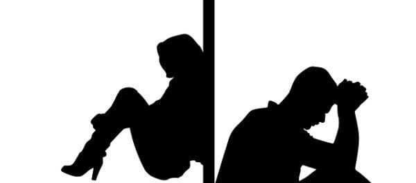 мъж, жена, силуети на мъж и жена