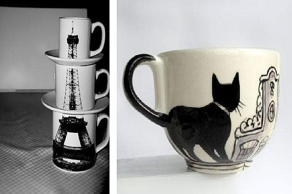 Чаши Айфеловата кула и чаша - котка