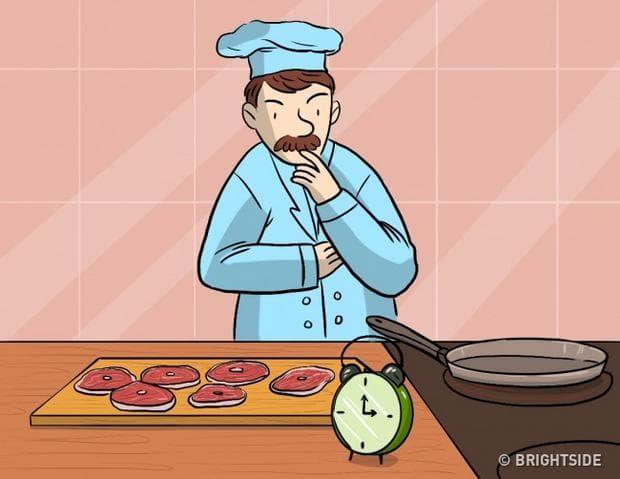 готвачът и пържолите