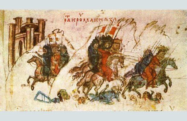 Средновековна рисунка на битката във Върбишкия проход