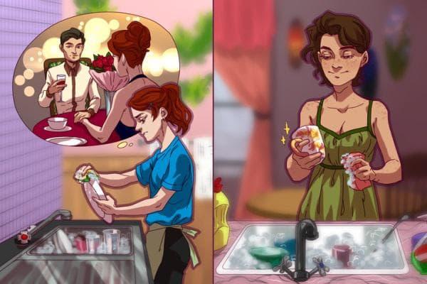 момиче, което мие чинии