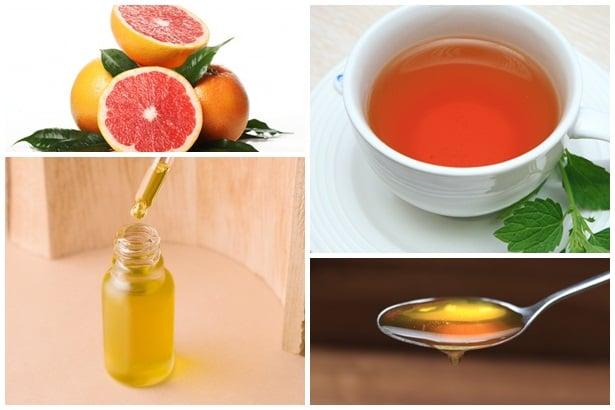 цитруси,билков чай,ленено масло, мед