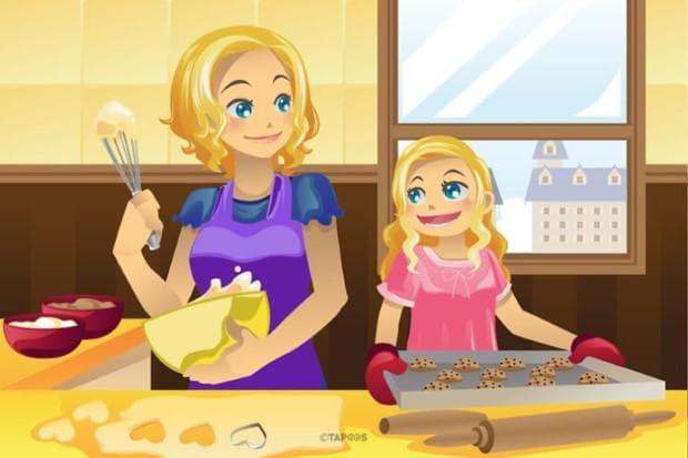 майка и дъщеря готвят заедно