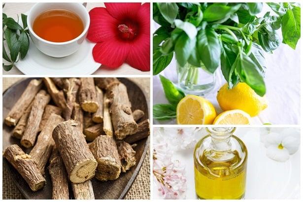 чай хибискус,босилек, йенско биле, масло риган