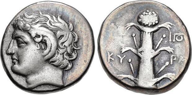 Монети от Кирена със стебло от силфиум