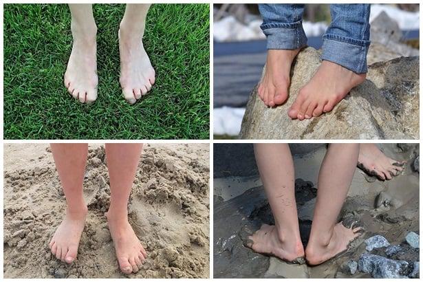боси крака на трева, камъни,пясък,кал