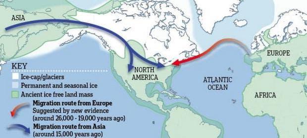 карта, изобразяваща двата маршрута на заселване на Америка