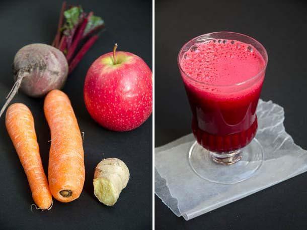 Сок от червено цвекло, ябълка, морков и джинджифил