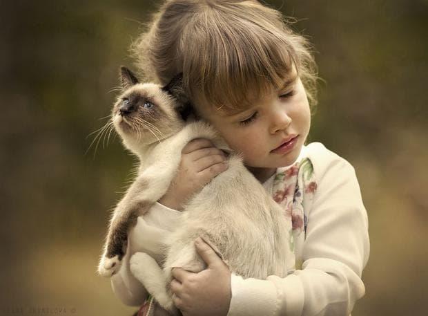 Дете и котка