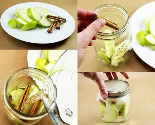 Приготвяне на детокс вода с ябълки и канела