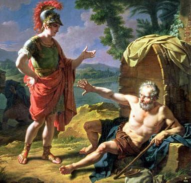 Александър Македонски разговаря с Диоген