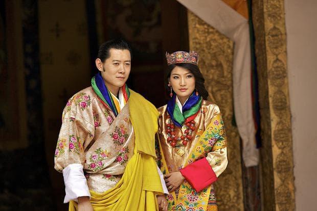 кралят и кралицата на Бутан