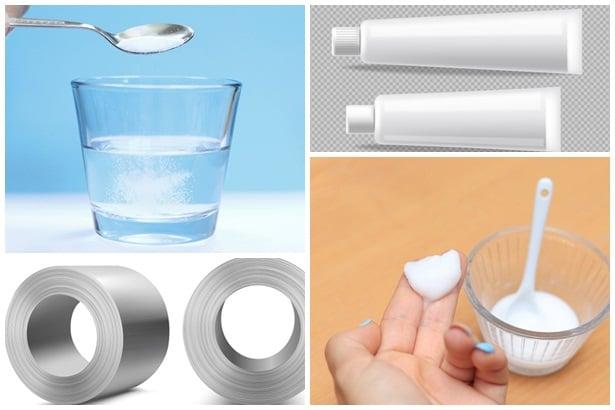 сол във вода, паста за зъби, алуминиево фолио, сода