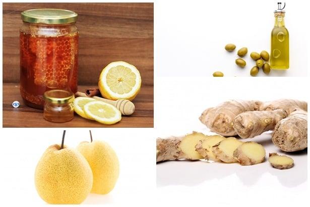 мед с лимон,зехтин,круша,джинджифил
