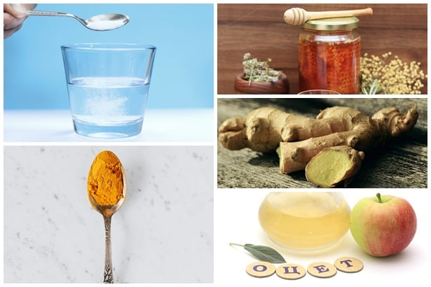 солена вода,мед,куркума,джинджифил,оцет