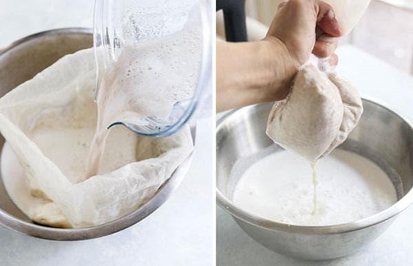 Прецедете бадемовото мляко