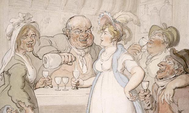 Карикатура, изобразяваща собственика на фабрика, наливащ джин на изнурените си работници