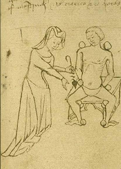 Медицински тест за импотентност, средновековна рисунка