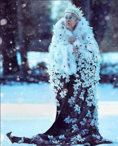 Зимна приказка: Внучка преобрази болната си баба в Снежната кралица