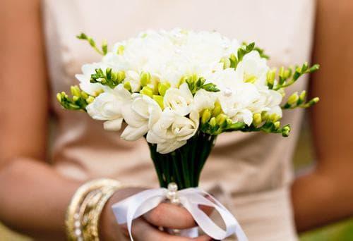 Букет фрезии на сватбата означават невинност на билката и приятелство между младоженците