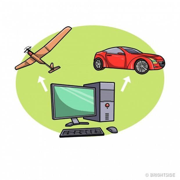 самолет, кола, телевизор
