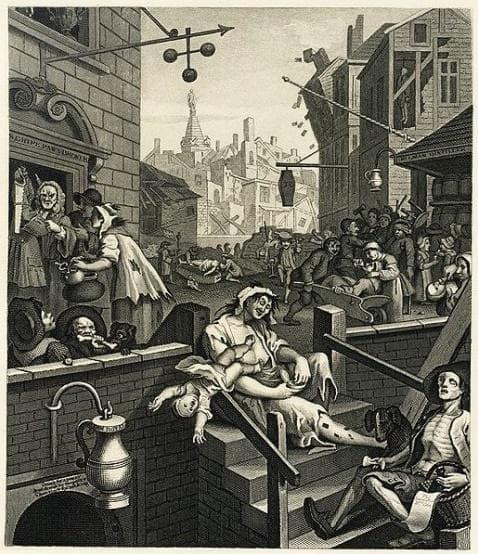 Картина от 1751, изобразяваща пагубното влияние на