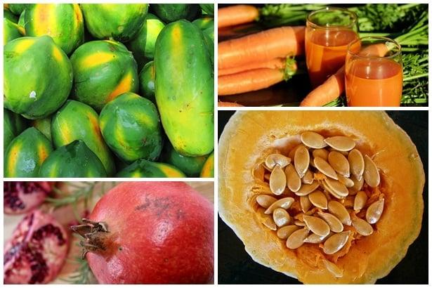 Папая, моркови,нар,тиквени семки