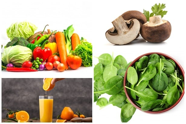 зеленчуци,гъби,портокалов сок,спанак