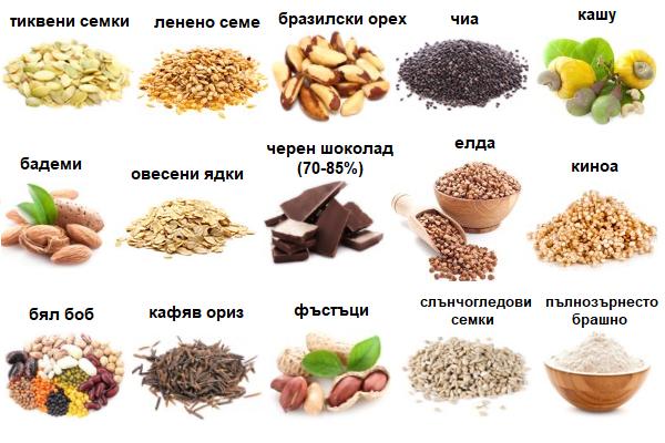 Храни, богати на магнезий, са семената, ядките, шоколада и други.