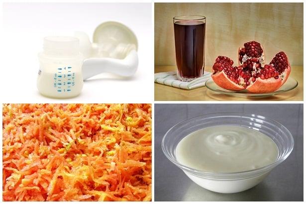 кърма,сок от нар,моркови,кисело мляко