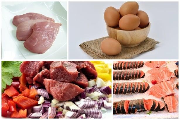 пилешко месо, яйца, телешко месо, риба