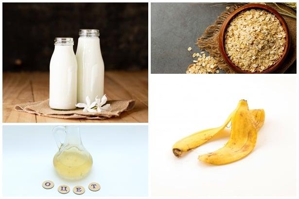 мляко,овесени ядки,оцет,банан