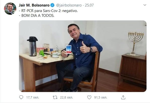 Жаир Болсонаро обяви в Twitter, че е здрав
